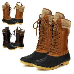 Women's Waterproof Rubber Warm Hiking Snow Rain Winter Lace