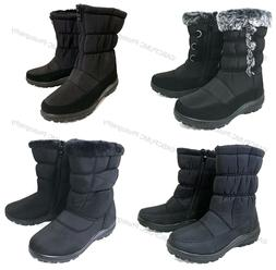 New Women's Winter Boots Fur Lined Insulated Waterproof Zipp