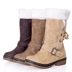 Women's Winter Boots Snow Fur Warm Insulated Waterproof Midi