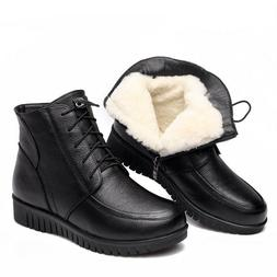 Women's Winter Shoes Genuine Leather Flat Ankle Lace-Up Warm
