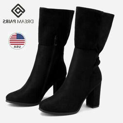 DREAM PAIRS Women Suede Fur Lined Boots Winter Mid Calf High