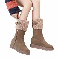 Women Suede Type Winter Boots Zipper Buckle Straps Closure R