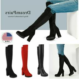 DREAM PAIRS Women Thigh High Chunky Heel Faux Fur Knee High