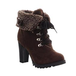 Women's Winter Casual Plush Boots Lace-up High Heel Ankle Sh