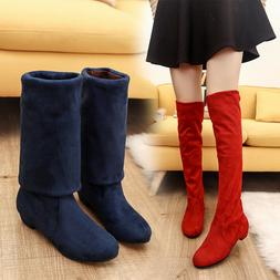 Women Winter Flat Bottom Shoes Over The Knee Thigh High Sued