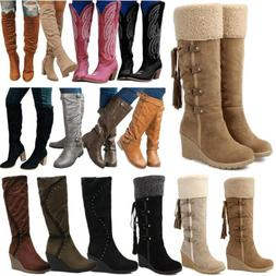 Women Winter Fleece Snow Boots Knee High Wide Calf Wedge Hee