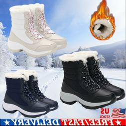 Women Winter Snow Boots Ladies Lace up Fur Lined Warm Boots