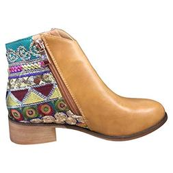 womens ankle leather boots chunky low heel