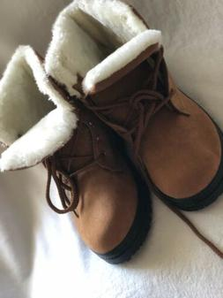 SQL Womens Beige Suede Susanny Ankle Boots White Fur Lined,