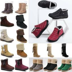 Womens Fur Lined Snow Ankle Mid-calf Boots Winter Warm Water