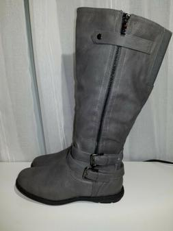 Dream Pairs Womens Gray Winter Boots Lined Faux Leather Size
