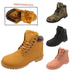 WOMENS GRIP SOLE WINTER  ARMY COMBAT  FUR LINED LADIES SNOW
