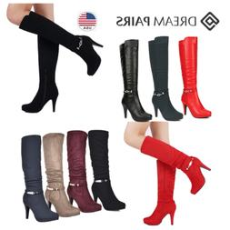 DREAM PAIRS Womens Knee High Boots High Heel Platform Faux F