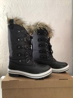 Womens Lace Up Rubber Sole Tall Winter Snow Rain Shoe Boots