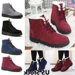 Womens Lace Up Snow Ankle Boots Work Winter Warm Fur Lined F