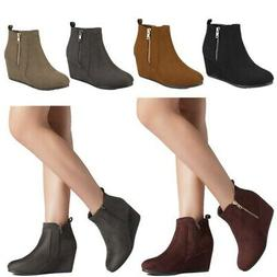 DREAM PAIRS Womens Low Wedge Ankle Boots Round Toe Suede Zip