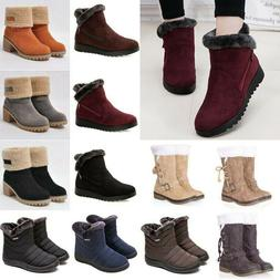 Womens Plain Winter Snow Boots Fur Warm Casual Booties Therm
