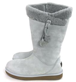 UGG Women's Plumdale Cuff Tall Gray Silkee Suede With Pom