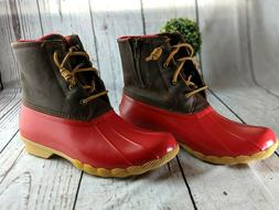 Womens Sperry Top-Sider Saltwater Tan Red Duck Boots Winter