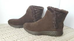 Womens Winter Boots Skechers Parka Suede Brown Cozies Slip-O