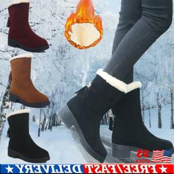 Womens Winter Boots Snow Fur Lined Warm Comfy Casual Mid Cal