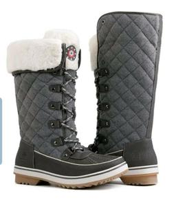 womens winter gray snow boots w faux