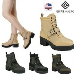 DREAM PAIRS Womens Winter Platform Ankle Boots Lace Up Chunk