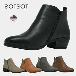TOETOS Womens Winter Riding Ankle Boots Low Heels Zip Up Cas
