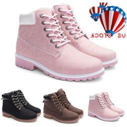 Womens Winter Snow Ankle Boots Army Combat Flat Grip Sole Fu