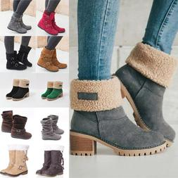 Womens Winter Solid Flat Buckle Short Snow Boots Warm Casual