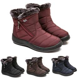 Womens Winter Warm Fur Lining Ankle Boots Ladies Flat Slip O